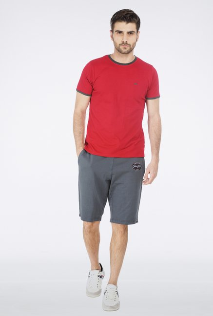 Basics Grey Plain Knit Short