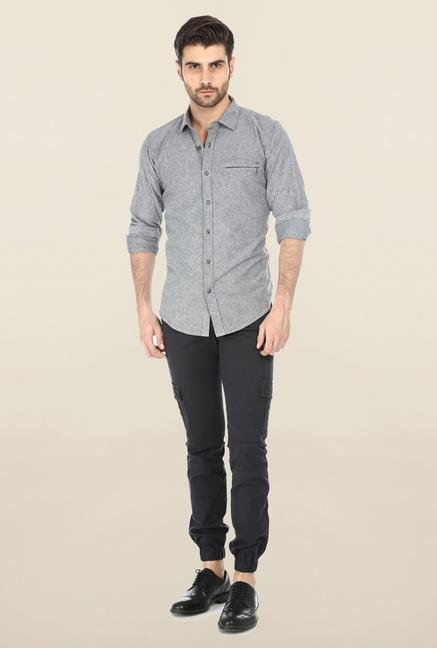 Basics Mid Grey Oxford Weave Shirt