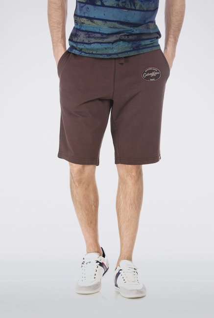 Basics Brown Plain Knit Short