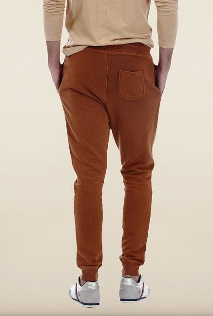 Basics Mid Brown Solid Track Pant