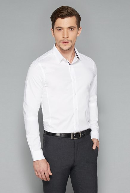 Weststreet White Full Sleeves Formal Shirt