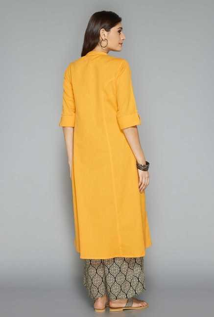 Utsa Yellow Cotton Kurta