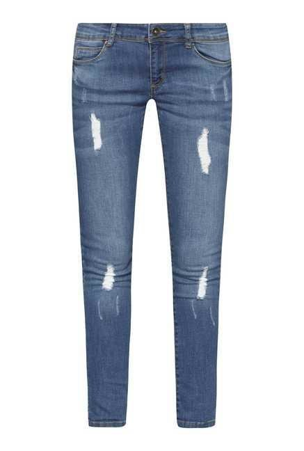 Nuon by Westside Dark Blue Distressed Skinny Fit Jeans