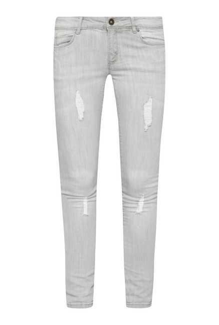 Nuon by Westside Ice Grey Distressed Skinny Fit Jeans