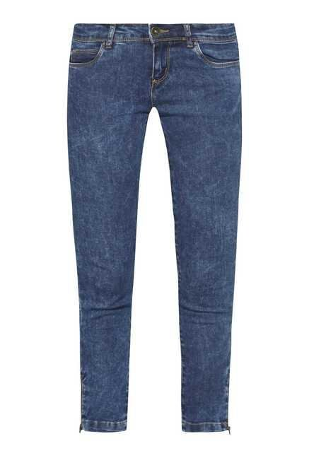 Nuon by Westside Dark Blue Tie Dye Skinny Fit Jeans