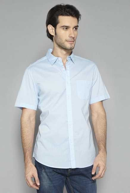 Westsport Mens Blue Solid Shirt