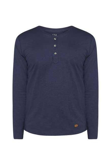 ETA Navy Henley Cotton T Shirt