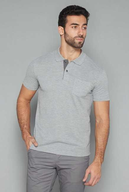 Westsport Mens Grey Solid Polo T Shirt