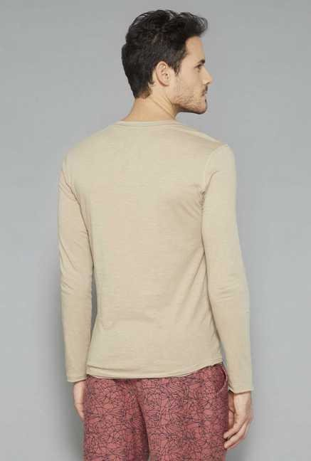 ETA Beige Henley Cotton T Shirt