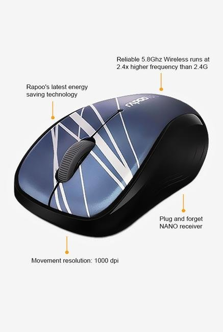 Rapoo 5G Wireless 3100P 3Key Mouse Blue