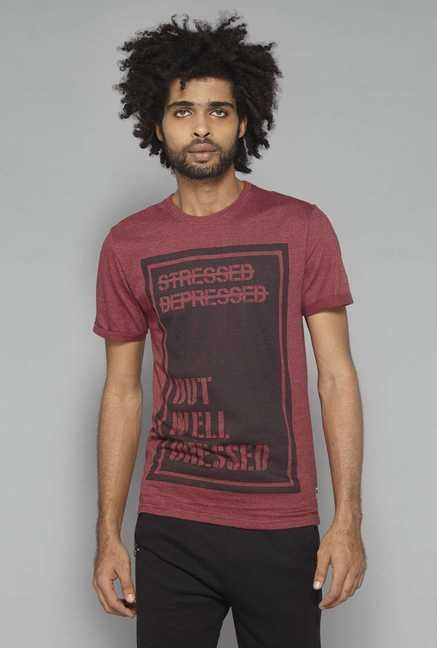 Nuon by Westside Red Crew Neck Cotton T Shirt