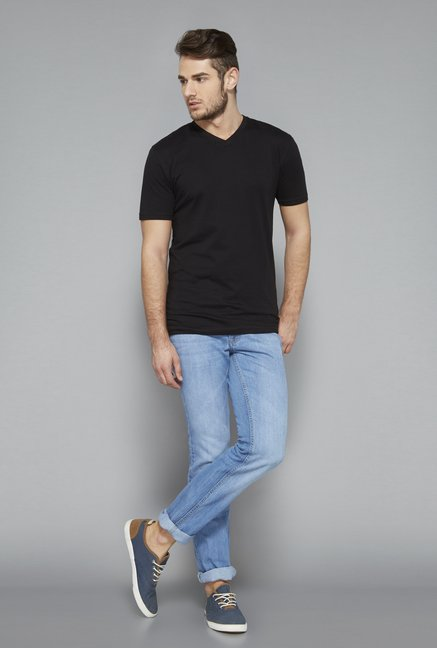 Westsport Black Solid V Neck T Shirt