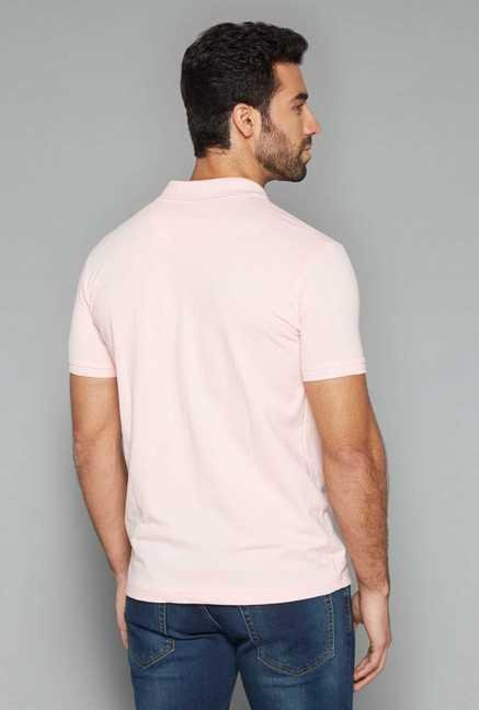 Westsport Mens Pink Solid Polo T Shirt