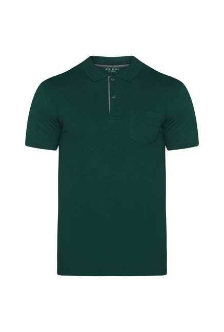 Westsport Mens Green Slim Fit Polo T Shirt