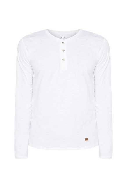 ETA White Solid Henley Cotton T Shirt