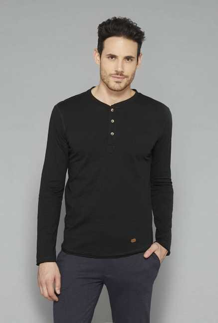 ETA Black Solid Henley Cotton T Shirt