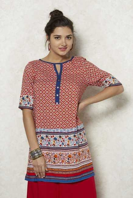 Fusion Beats Red Printed Fiza Kurta