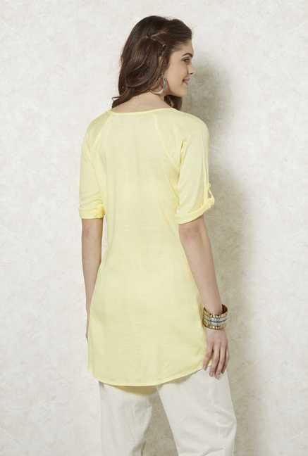 Fusion Beats Yellow Printed Kora Tunic