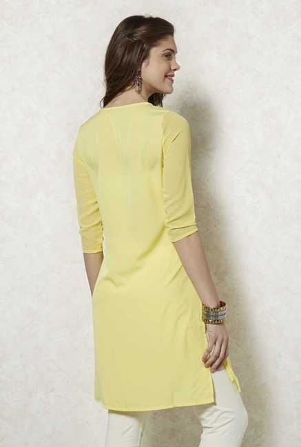 Fusion Beats Yellow Embroidered Kurta