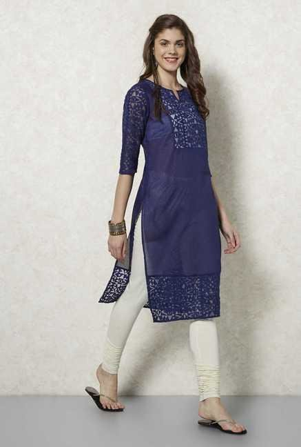 Fusion Beats Indigo Embroidered Cotton Kurta