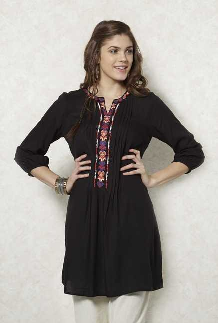 Fusion Beats Black Printed Kurta
