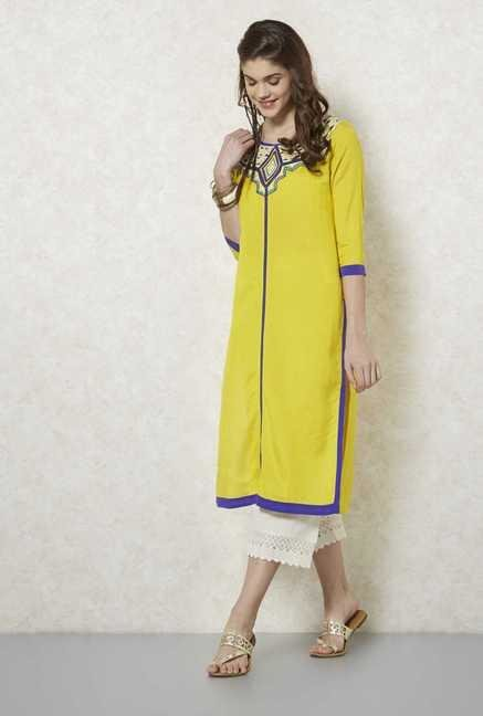 Fusion Beats Lime Embroidered Kurta