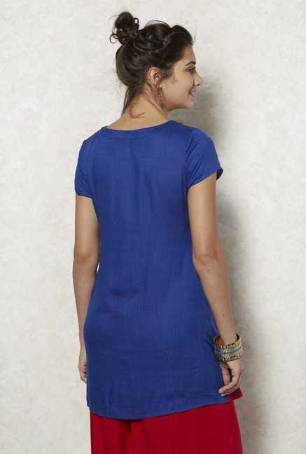 Fusion Beats Blue Embroidered Tunic