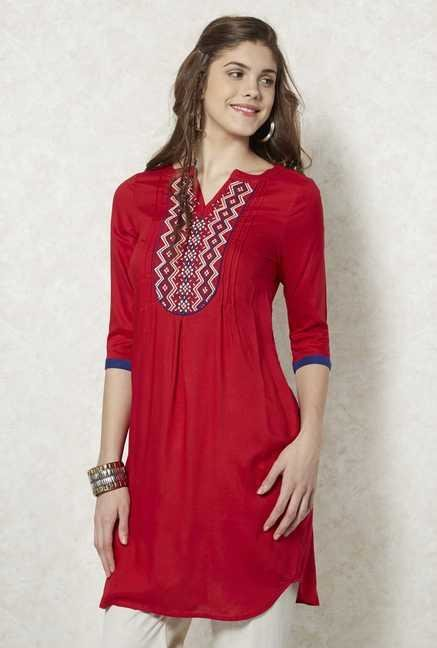 Fusion Beats Red Printed Kurta