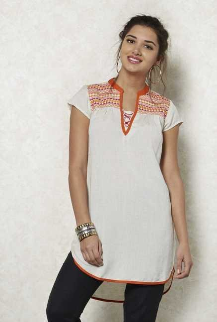 Fusion Beats White Ethnic Tunic