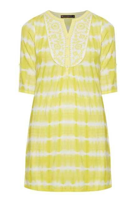 Fusion Beats Yellow Printed Tunic