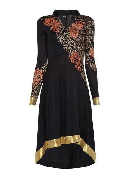 Ira Soleil Black Fit & Flare Kurta Dress