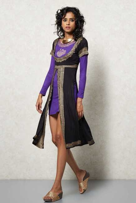 Ira Soleil Black Double Layered Kurti
