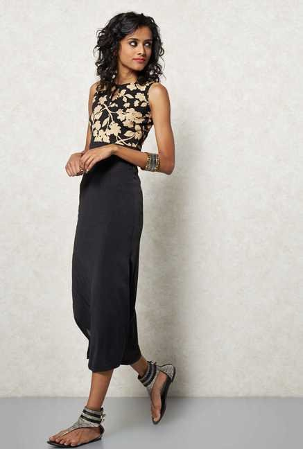Ira Soleil Black Floral Printed Kurta Dress