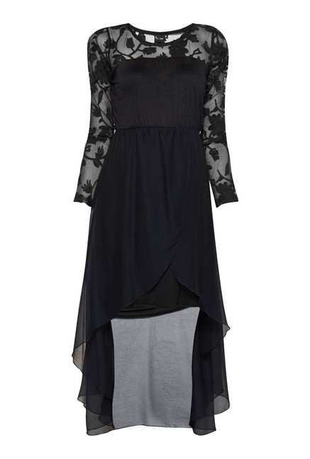 Ira Soleil Black High Low Kurti Dress