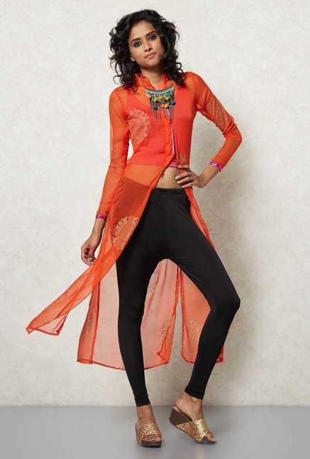 Ira Soleil Orange Tank & Jacket Set
