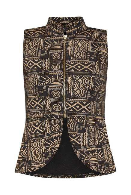 Ira Soleil Black Printed Sleeveless Vest
