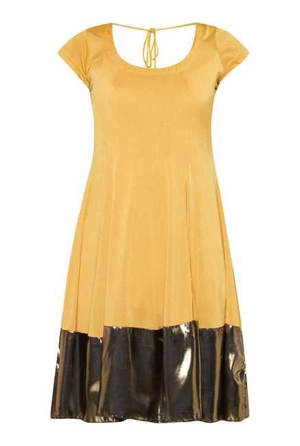 Ira Soleil Yellow Asymmetrical Hem Kurti Dress