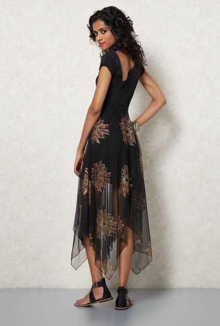 Ira Soleil Black Double Layered Dress