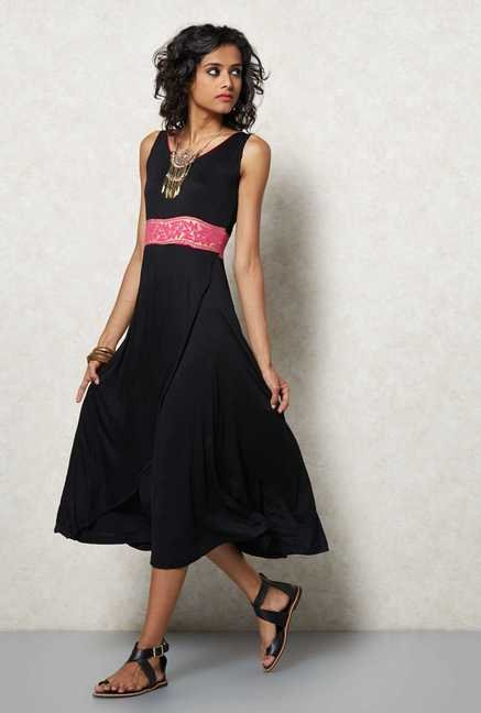 Ira Soleil Black Fit & Flare Dress
