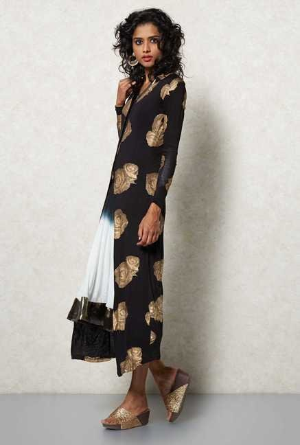 Ira Soleil Black Rose Printed Shrug Jacket