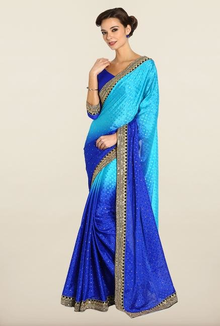 Soch Blue Zari Embroidered Saree