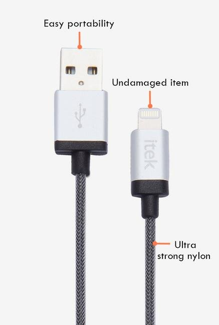 Itek Indestructible CBL003_GY Micro USB Cable Grey