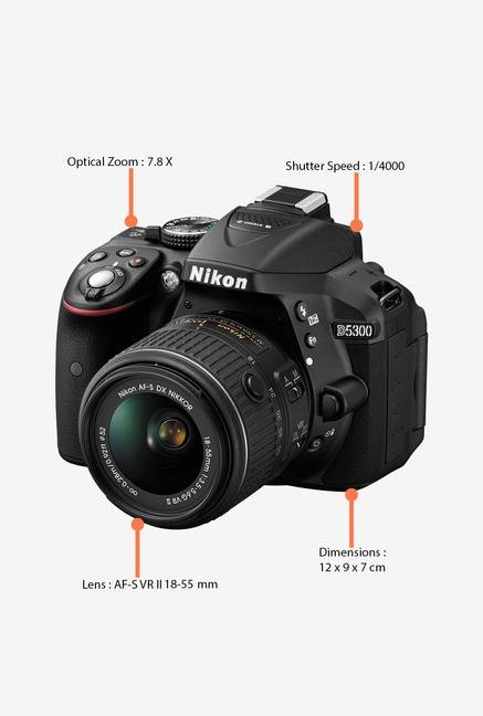 Nikon D5300 with (AF-S 18-55mm VR Lens) DSLR Camera (Black)