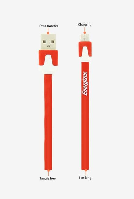 Energizer Hightech Ultra Flat LCAEHUFCMCRD2 USB Cable Red