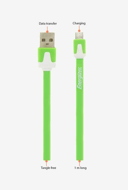 Energizer Hightech Ultra Flat LCAEHUFCMCGR2 USB Cable Green