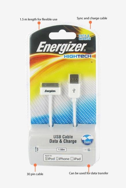 Energizer Hightech Apple LCHEHUSBSYIP2 1.5m USB Cable White