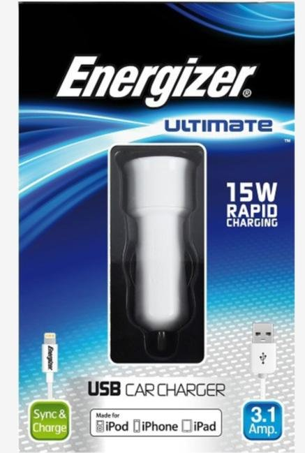 Energizer Ultimate DC2UUIP5 iphone5 Car Charger White