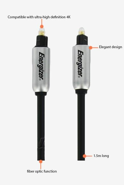 Energizer 1.5m LCAEHFIBOP15 Audio Stereo Cable Black