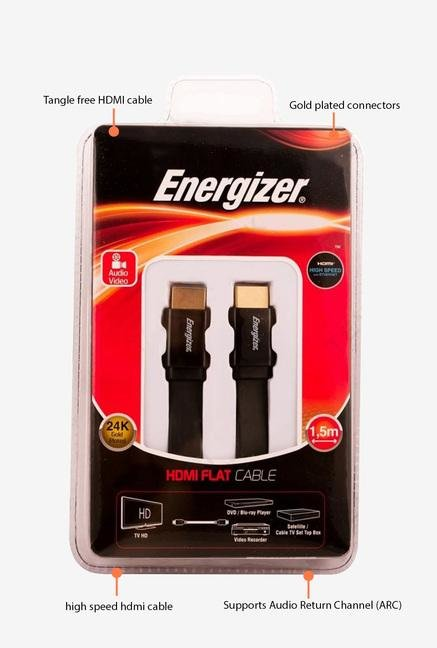 Energizer Ultra Flat LCAECFHAA15 1.5m HDMI Cable Black