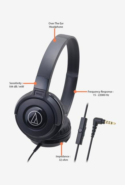 Audio-Technica Street ATH-S100is On The Ear Headphone Black